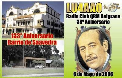 QSL Especial 38º Aniversario del Radio Club QRM Belgrano y 133° Aniversario del Barrio de Saavedra